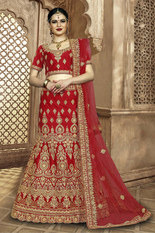 Red Color Silk Women's Semi-Stitched Lehenga - NMMBA964