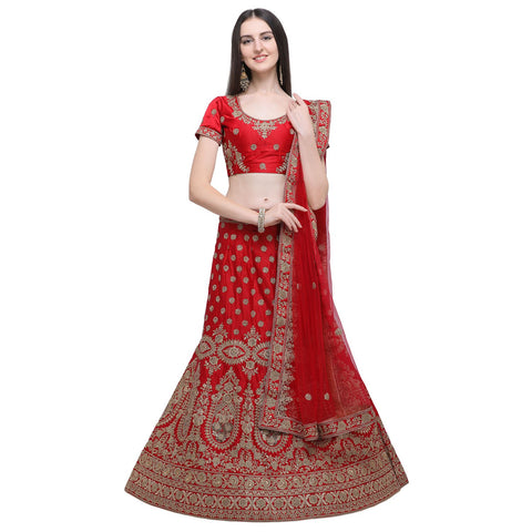 Red Color Silk Women's Semi-Stitched Lehenga Choli - NMMBA966DP
