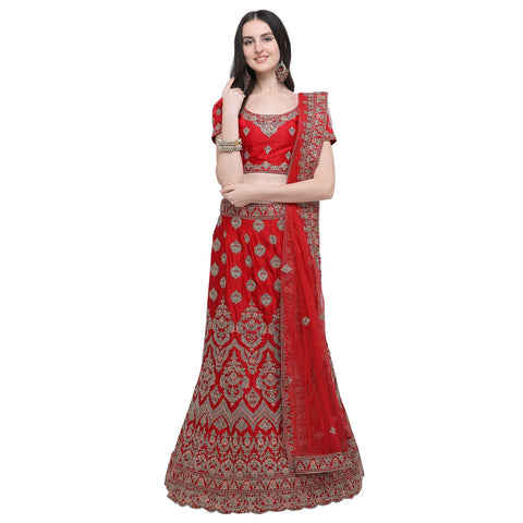 Red Color Silk Women's Semi-Stitched Lehenga Choli - NMMBA967DP