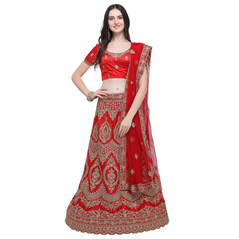 Red Color Silk Women's Semi-Stitched Lehenga Choli - NMMBA975DP