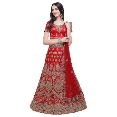 Red Color Silk Women's Semi-Stitched Lehenga Choli - NMMBA999DP