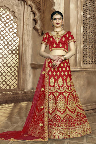 Red Color Silk Women's Semi-Stitched Lehenga - NMMBA999