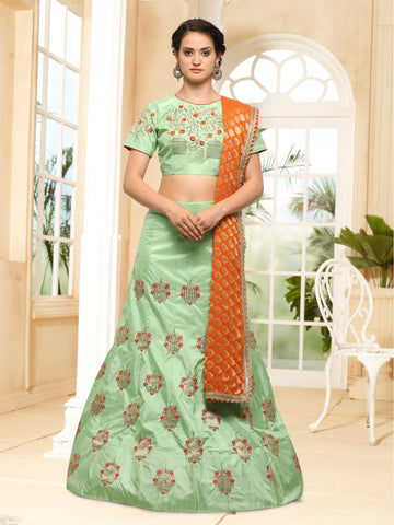 Pista Green Color Semi Stitched Silk Lehenga - NMMHRA787GREEN