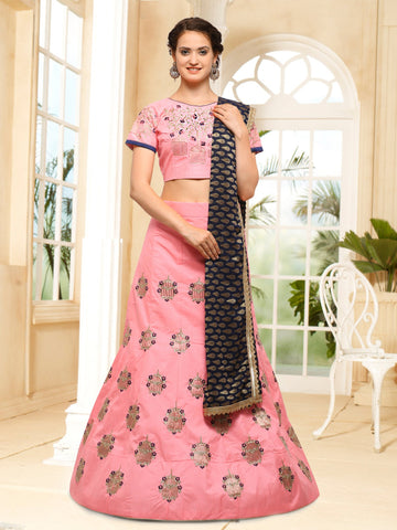 Peach Color Semi Stitched Silk Lehenga - NMMHRA787PEACH