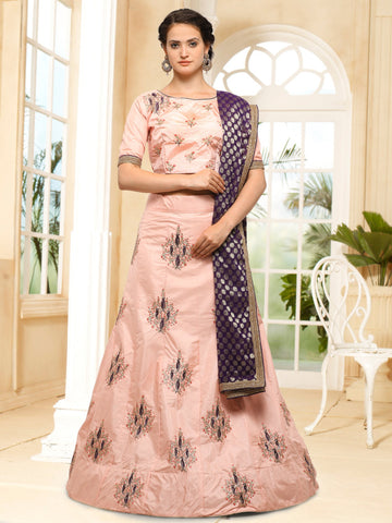 Peach Color Semi Stitched Silk Lehenga - NMMHRA788PEACH