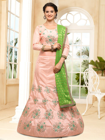 Chiku Color Semi Stitched Silk Lehenga - NMMHRA789PEACH
