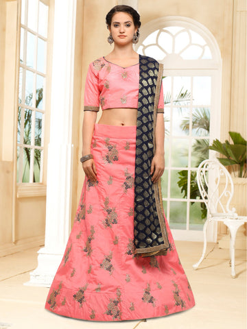 Pink Color Semi Stitched Silk Lehenga - NMMHRA791PINK