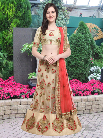 Beige Color Net Semi Stitched Lehenga  - NMMY16A695