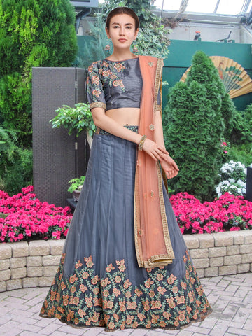 Grey Color Net Semi Stitched Lehenga  - NMMY16A781GREY