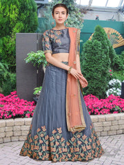 Buy Grey Color Net Semi Stitched Lehenga