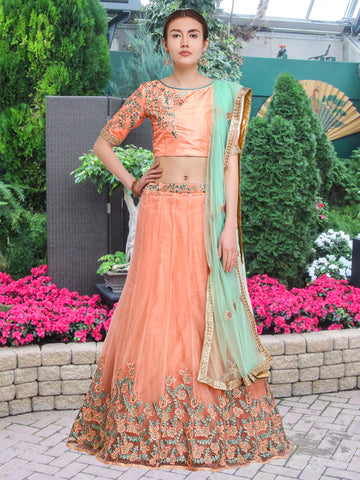 Peach Color Net Semi Stitched Lehenga  - NMMY16A781PEACH