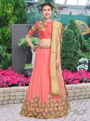 Pink Color Net Semi Stitched Lehenga  - NMMY16A781PINK