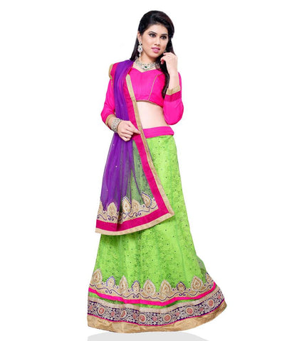 Green Color Jacquard Lehengas - NMN1A4040A