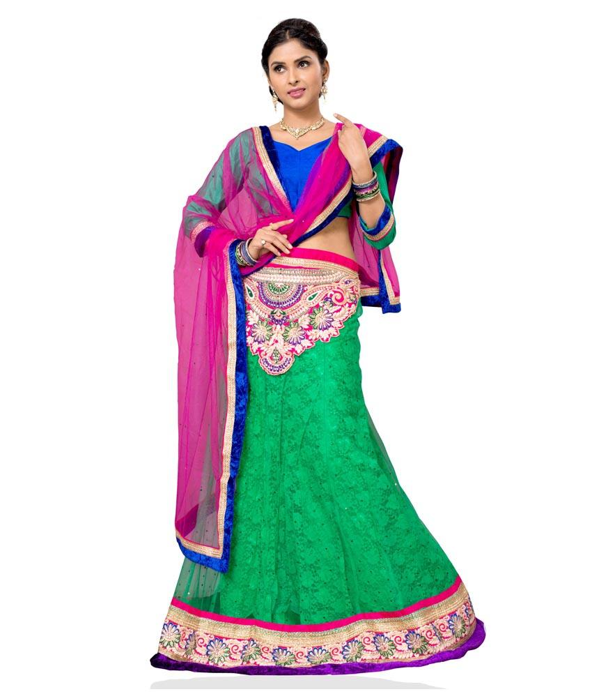 Green Color Jacquard Lehengas