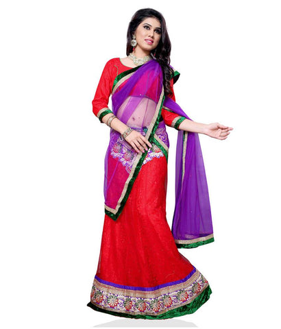 Red Color Jacquard Lehengas - NMN1A4045C