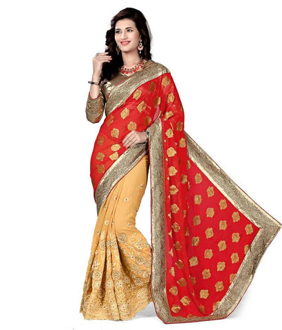 Gold Color Raw Silk Embroidery Saree - NMN2A112Red