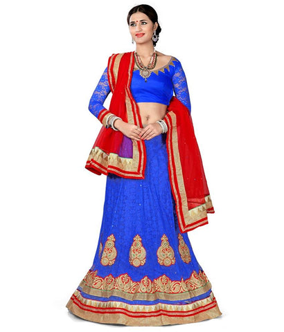 Blue Color Net Lehengas - NMN2A116Blue