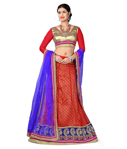 Red Color Net Lehengas - NMN2A117Red