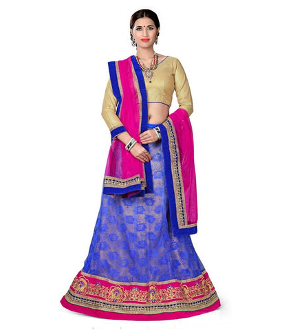 Blue Color Net Lehengas - NMN2A119Blue