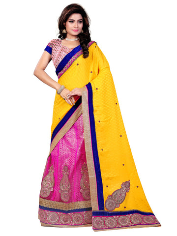 Yellow Color Viscose Saree - NMN3A4074DP