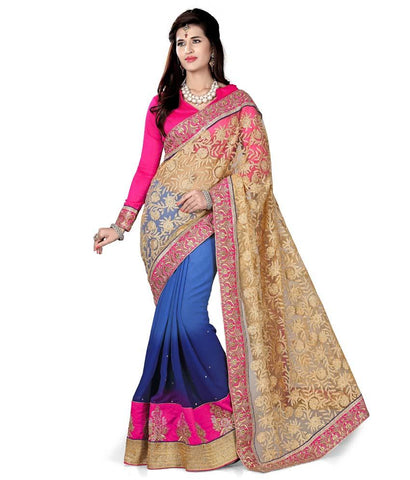 Pgold Color Net Embroidery Saree - NMN3A5057