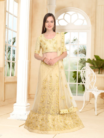 Beige Color Net Semi Stitched Lehenga - NMN4A634DP