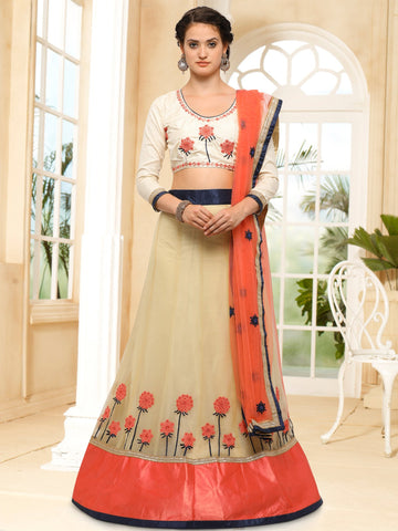 Chiku Color Semi Stitched Silk Lehenga - NMN4A723