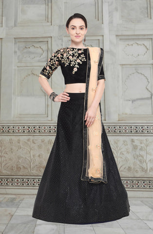 Black Color Velvet Unstitched Lehenga - NMN4A868