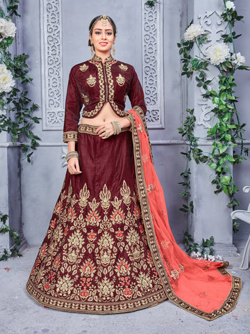 Brown Color Velvet and Two Tone Silk Semi Stitched Lehenga - NMPDVA659
