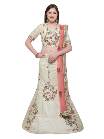 OffWhtite Color Banarasi Silk Semi Stitched Lehenga Choli - NMPDVA680DP