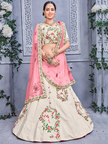 Off white Color Banarasi  Silk Semi Stitched Lehenga - NMPDVA680