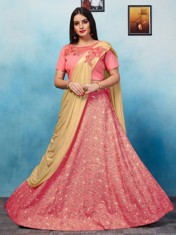 Dark Peach Color Jacquard Semi Stitched Lehenga - NMRZIA751