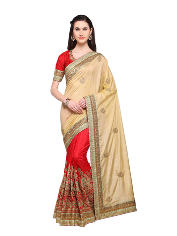 Beige Color Banarasi Silk Saree - NMSSPA616