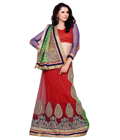 Red Color Net Lehengas - NMTHA101