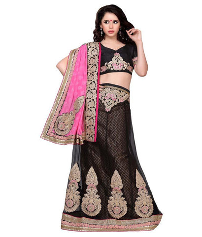 black Color Net Lehengas - NMTHA103