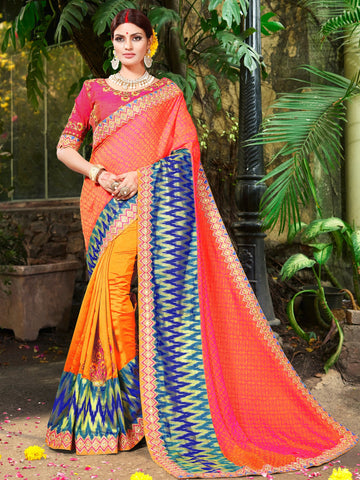 Orange Color Pure Jacqard Saree - NMTSUA755