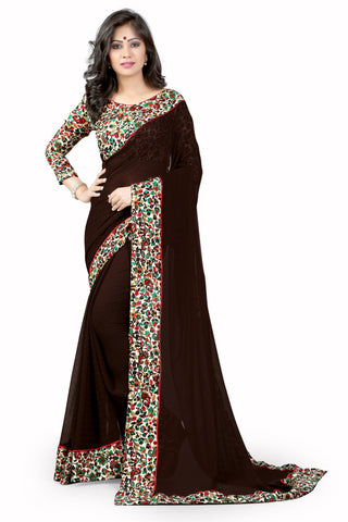 Brown Color Chiffon Designer Saree - NOOR-2052