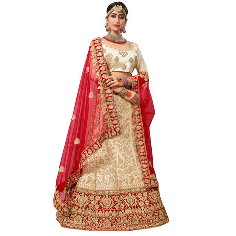 Beige Color Silk Satin Semi Stitched Lehenga - NOORI-27001