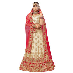 Buy Beige Color Silk Satin Semi Stitched Lehenga