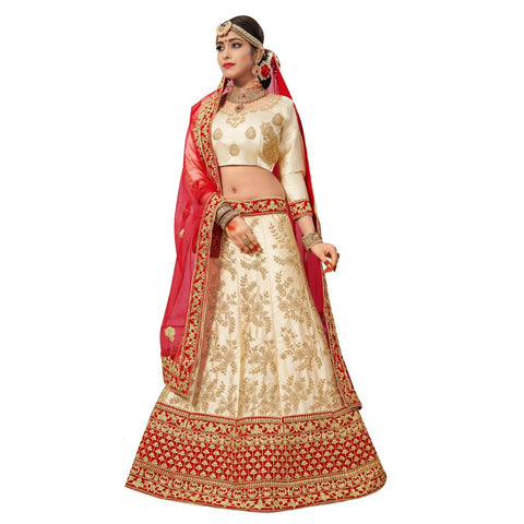 Beige Color Silk Satin Semi Stitched Lehenga - NOORI-27003