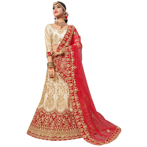 Beige Color Silk Satin Semi Stitched Lehenga - NOORI-27004