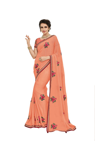 Peach Color Moss Chiffon Saree - NS42003