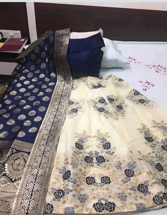 Buy White Blue Color Banarasi Silk Jecquard Women's Semi-Stitched Lehenga