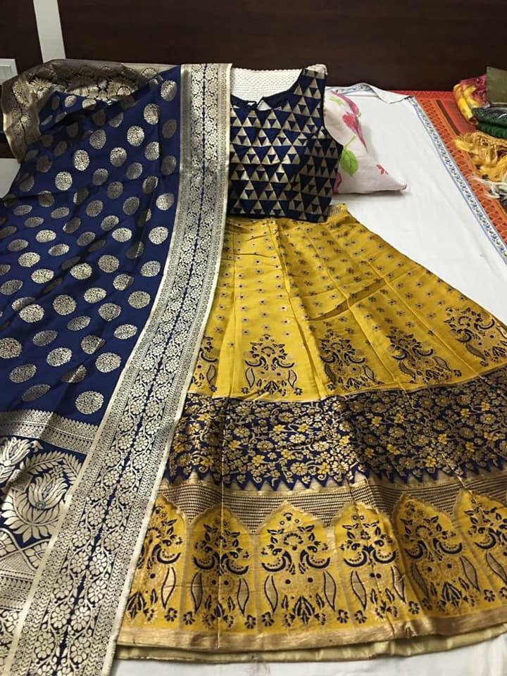 Buy Yellow Blue Color Banarasi Silk Jecquard Women's Semi-Stitched Lehenga