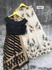 Buy White Black Color Banarasi Silk Jecquard Women's Semi-Stitched Lehenga