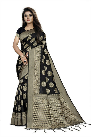 Black Color Art Cotton Silk Women's Saree - NTC_PALANI_02