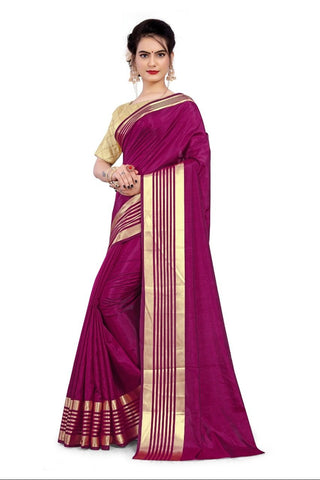 Maroon Color Sana Silk Women's Saree with Stitched Blouse - NTC_SANA_MAGENTA