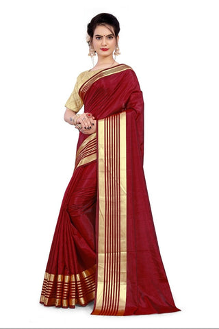 Navy Blue Color Sana Silk Women's Saree with Stitched Blouse - NTC_SANA_MAROON