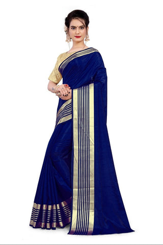 Magenta Color Sana Silk Women's Saree with Stitched Blouse - NTC_SANA_NAVYBLUE
