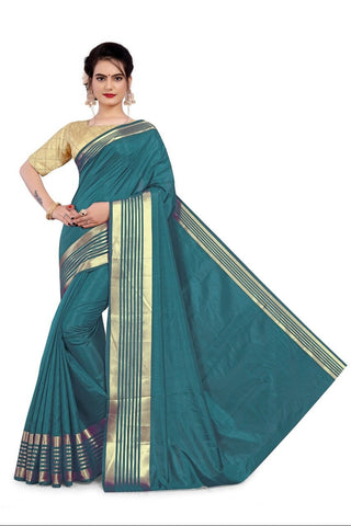 Sea Green Color Sana Silk Women's Saree with Stitched Blouse - NTC_SANA_SEAGREEN